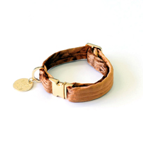 【NICE DIGS】VELVET DOG COLLAR - COPPER Sサイズ